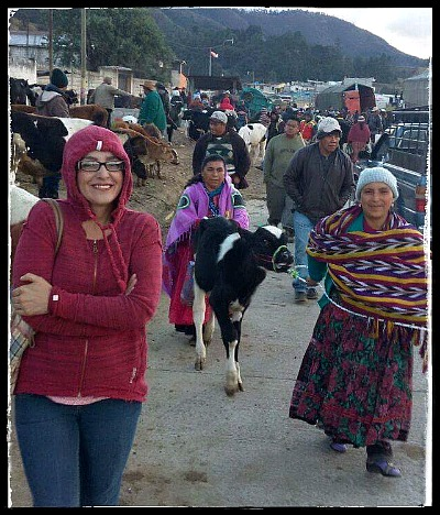 This Is The One! Faby, (R) braves the cold calf market.